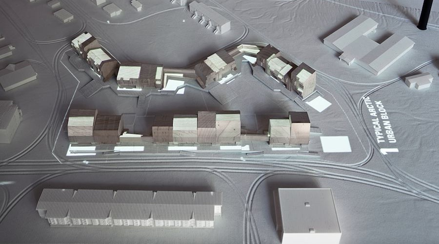 View of animated model showing housing proposal for Iqaluit, Arctic Adaptations; 2014 Image courtesy of Latreille Delage Photography