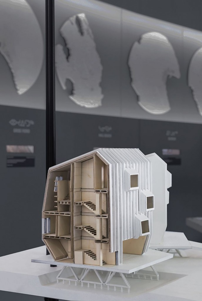 Detail of proposal with arctic balconies, Iqaluit, Arctic Adaptations; 2014 Image courtesy of Sergio Pirrone