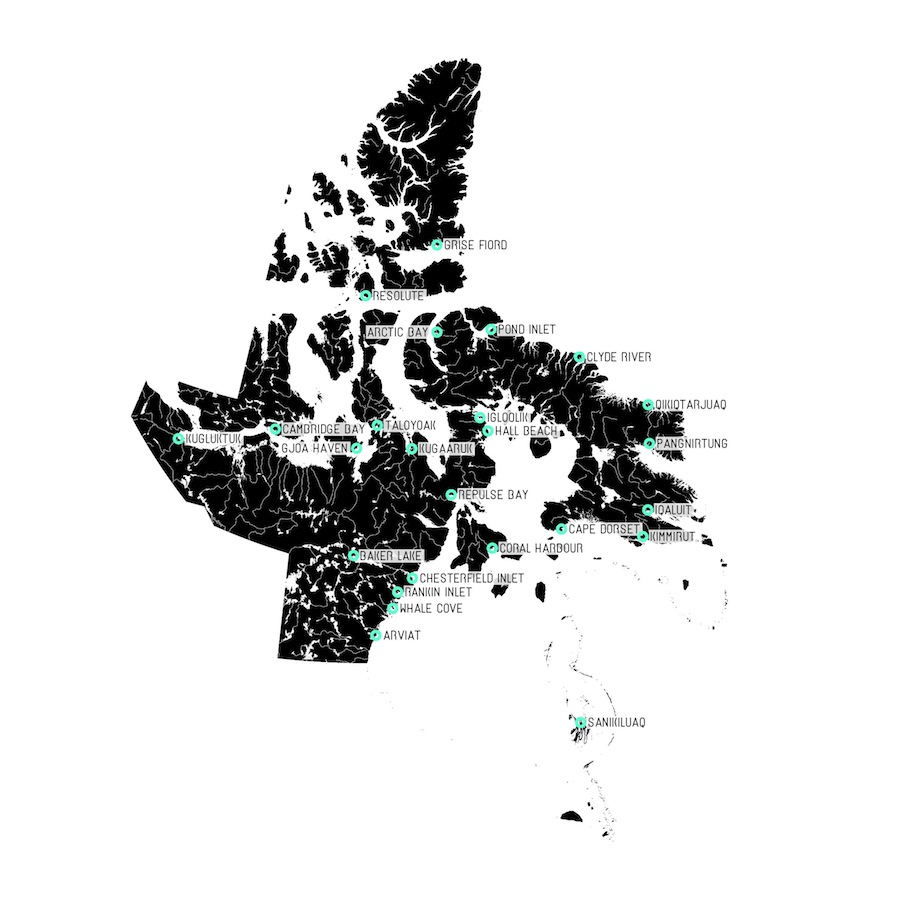 Map of Nunavut and its 25 Communities; Lateral Office, 2013; courtesy Lateral Office.