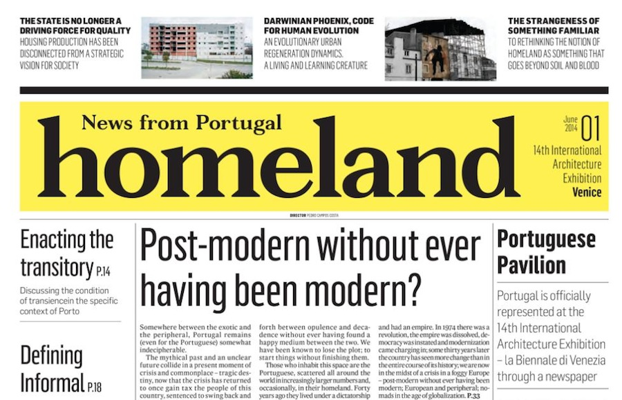 Homeland - News from Nowhere, publication of the Portugal Pavilion.