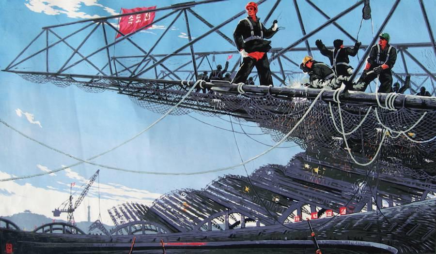 """Korean Pavilion """"Crow's Eye View"""" - Nick Bonner, Linocuts MayDay Stadium."""