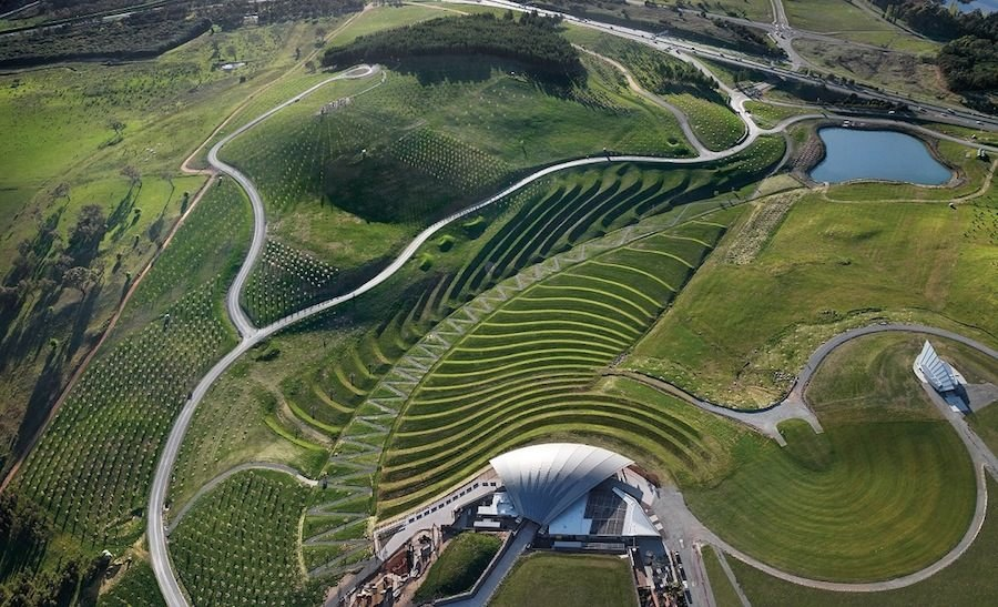The National Arboretum by TCL in Canberra, Australia. The sculptured landforms of the Central Clearing form part of the visitor arrival sequence. Photograph by John Gollings.
