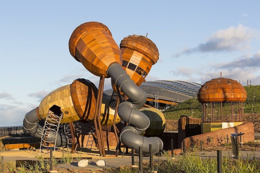 The National Arboretum by TCL in Canberra, Australia. The Pod Playground consists of a toddler play area (Banksias), swing set area, older children area (Acorns) and net play to the left of the Acorns. The Acorn area consists of six Acorn