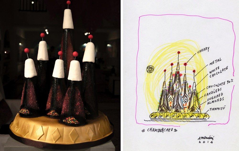 Chamber Cakes: Alessandro Mendini - Photo by Antonella Tignanelli (left), Sketch by Alessandro Mendini.