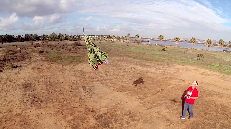 Flying Christmas Tree on a Drone - Frame from Fluy Guy Promotion video by La Mesa Air Production.