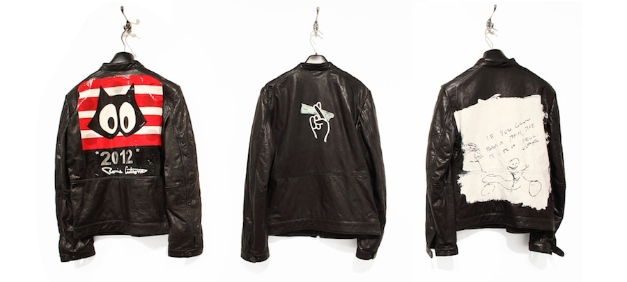 Left to right: Ronnie Cutrone, Leather Biker Jacket, 2010. Lee Quinones, Leather Biker Jacket, 2010.​ Nate Lowman, Leather Biker Jacket, 2010. Left: Ronnie Cutrone Middle: Lee Quinones. Right: Nate Lowman. Courtesy Of The Andy Warhol Museum, Pittsburgh.