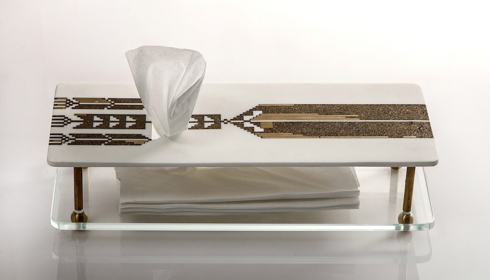 Nermeen Abu-Dail: tissue Box - White Corian with copper and copper in lay, 15x35x12 cm. Photo by Nabeel Qutteineh.