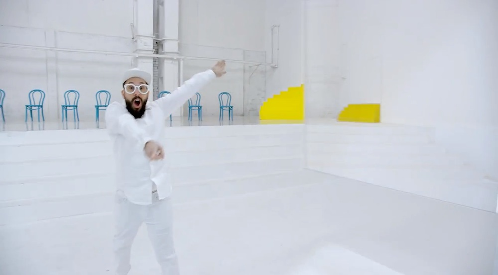 Frame from OK GO design commercial for Red Star Macalline.