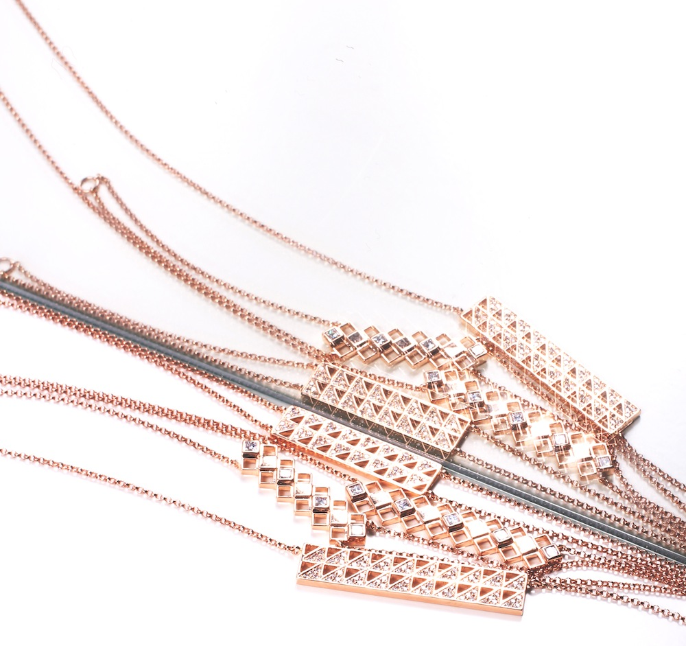 Shamsa Alabbar: Bar Collection, Pendants  Bracelets, 18ct Rose Gold with Diamonds, 1 x 4 cm, 2014 - © Shamsa Alabbar