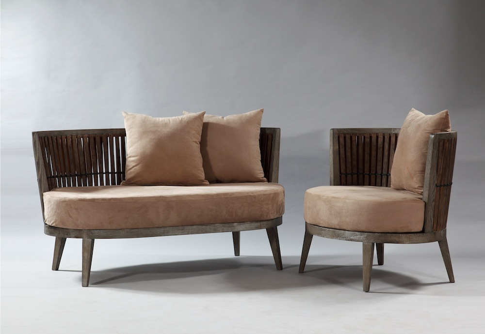 Bamboo Love Seat & Lounge Chair by Industria.