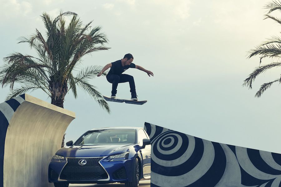 Lexus Hoverboard test rider Ross McGouran during filming of 'SLIDE', which features the high performance GS F. Photo Credit: Olly Burn.
