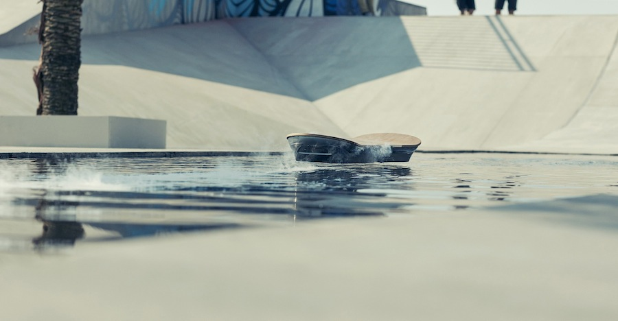 Lexus demonstrates the Hoverboard travelling across water in new film for the Amazing in Motion campaign. Photo Credit: Olly Burn.