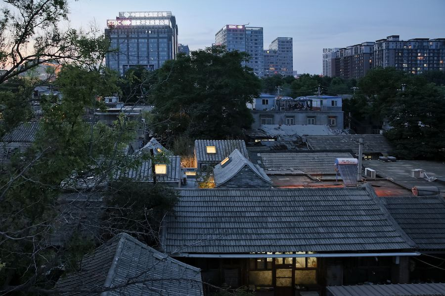View of hutong with Split courtyard house.