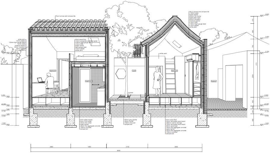 Split courtyard house by TAO