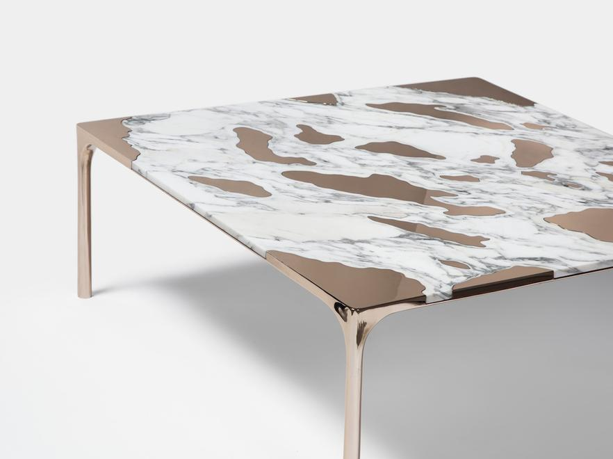 Marble vs Bronze coffee table Sofa by gt2P for gallery FriedmanBenda - Courtesy of FriedmanBenda.