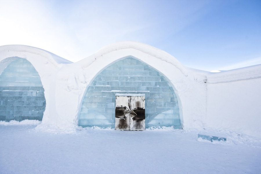 Entrance of Ice Hotel Art Suite - Photo by Martin Smedsen.
