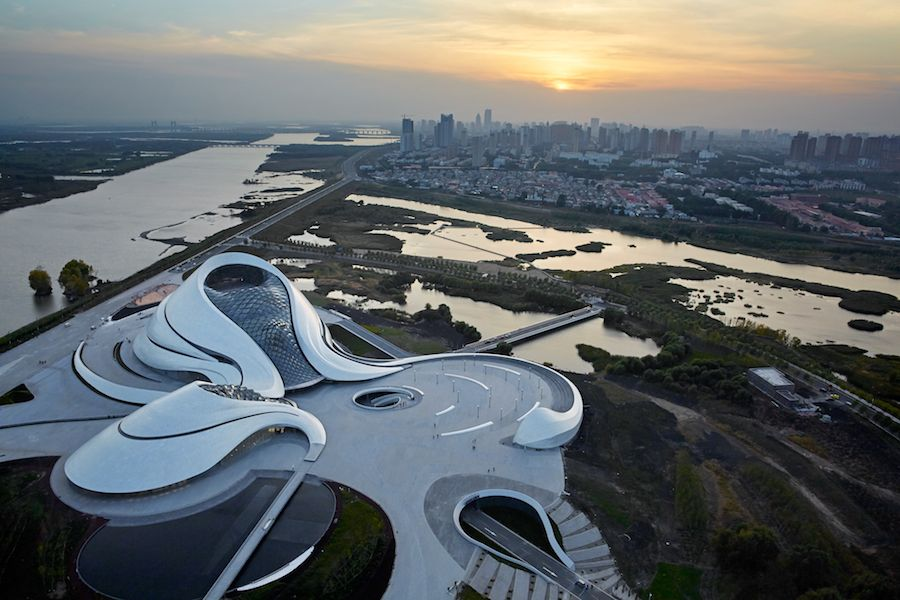 MAD Architects: Harbin Opera House aerial view from the East - Photo by Hufton+Crow, courtesy of MAD Architects.