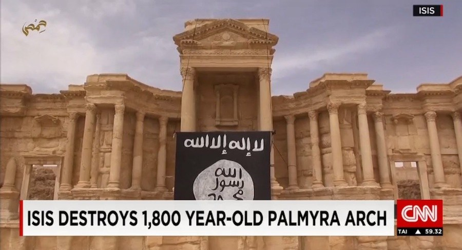 Frame from CNN news on ISIS destroying Palmira archaeological site. Watch the video-