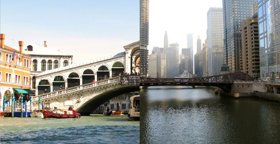 Rialto bridge in Venice and Chicago bridge - Photos by Adry and Daniel X O'Neil, Flickr CC.