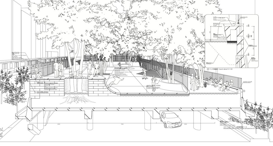 Atelier Bow-Wow, Miyashita Park - Section perspective. Courtesy vo Villa Noailles.