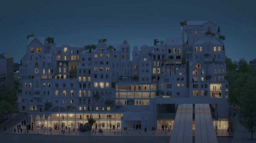 Frame from the video by Martin + Trottin and Périphériques Architects - watch.