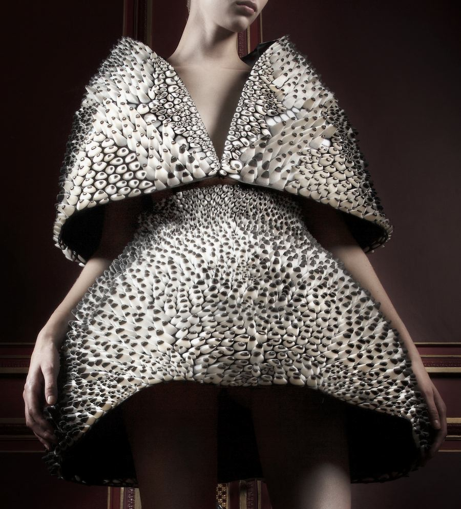 """""""Anthozoa"""" cape and skirt, Voltage Collection (detail) Designed by Iris van Herpen and Neri Oxman; printed by Stratasys - All photos: courtesy of Museum of Fine Arts, Boston."""