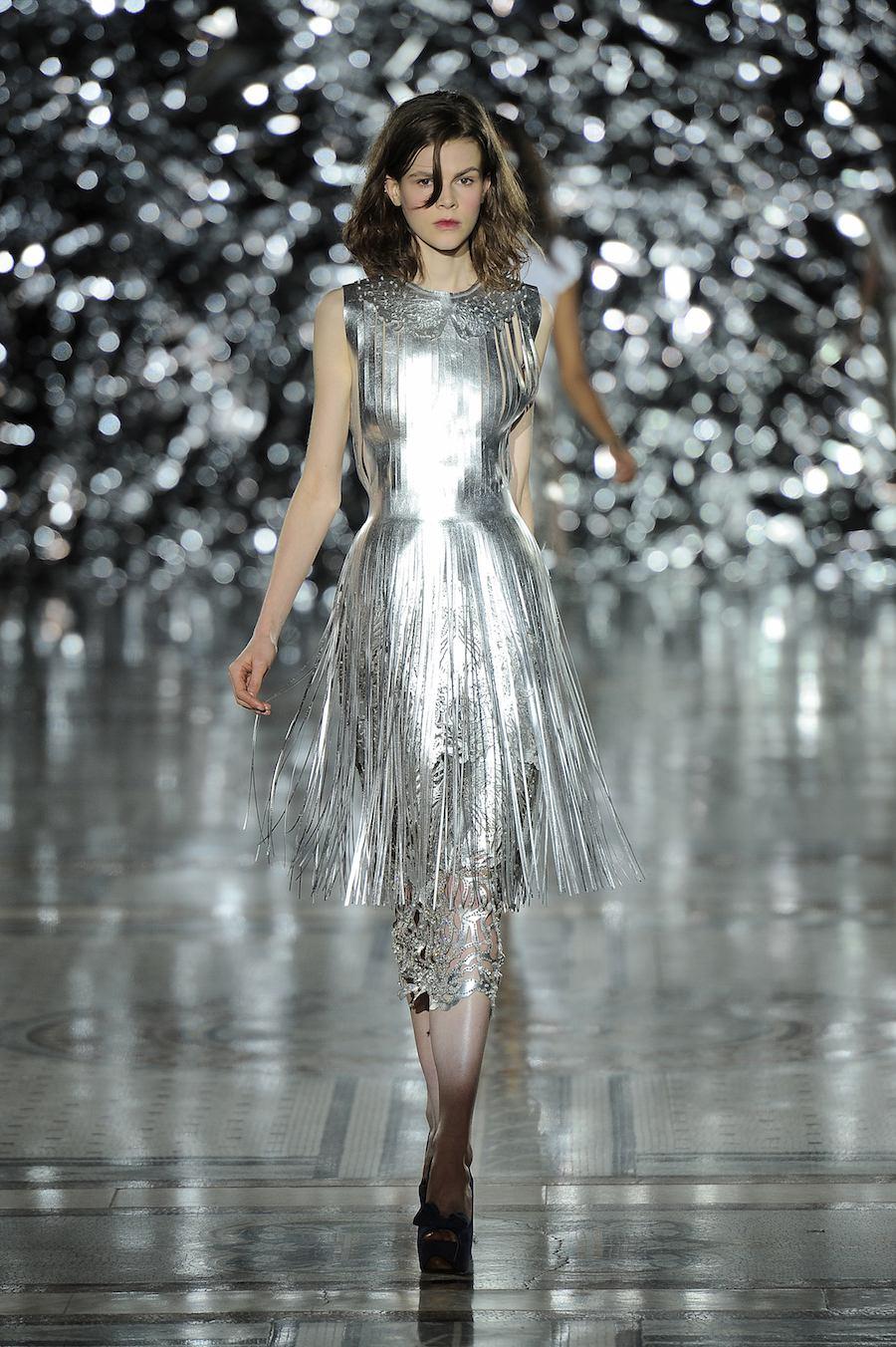 Metallic Leather Fringe Dress by Giles Deacon.