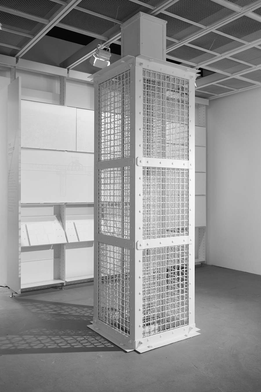 Model of Auschwitz gas column in The Evidence Room. Photo by Fred Hunsberger.