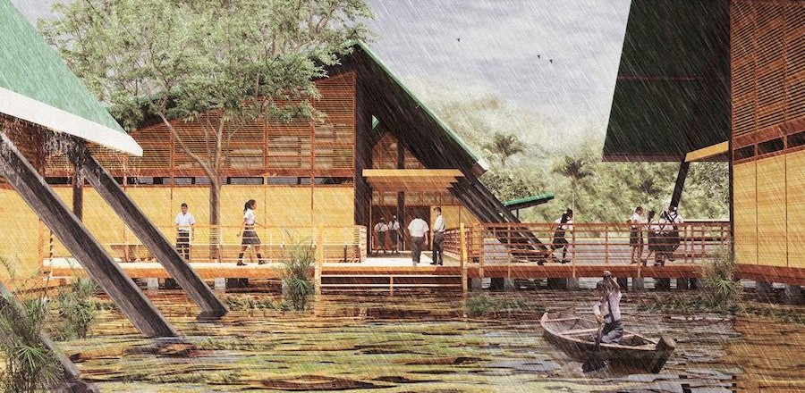 Peru Pavilion – Plan Selva adapting to Amazon foolding conditions – Courtesy of Ministry of Peru Education.
