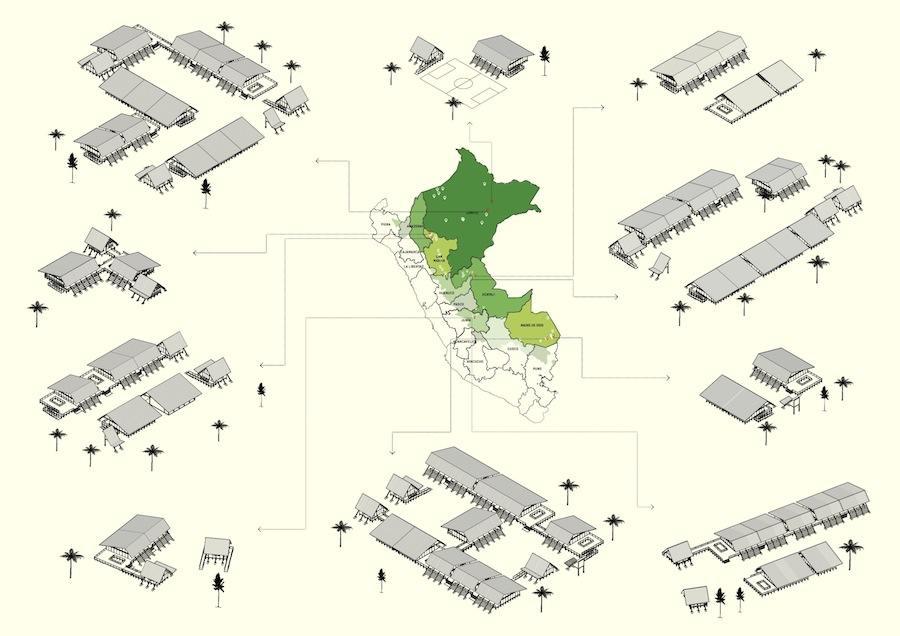Peru Pavilion - Plan Selva modular units - Courtesy of Ministry of Peru Education