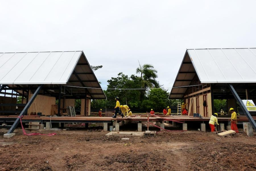 Peru Pavilion - Plan Selva school under construction in Rioja Alto Mayo Valley - Courtesy of Ministry of Peru Education