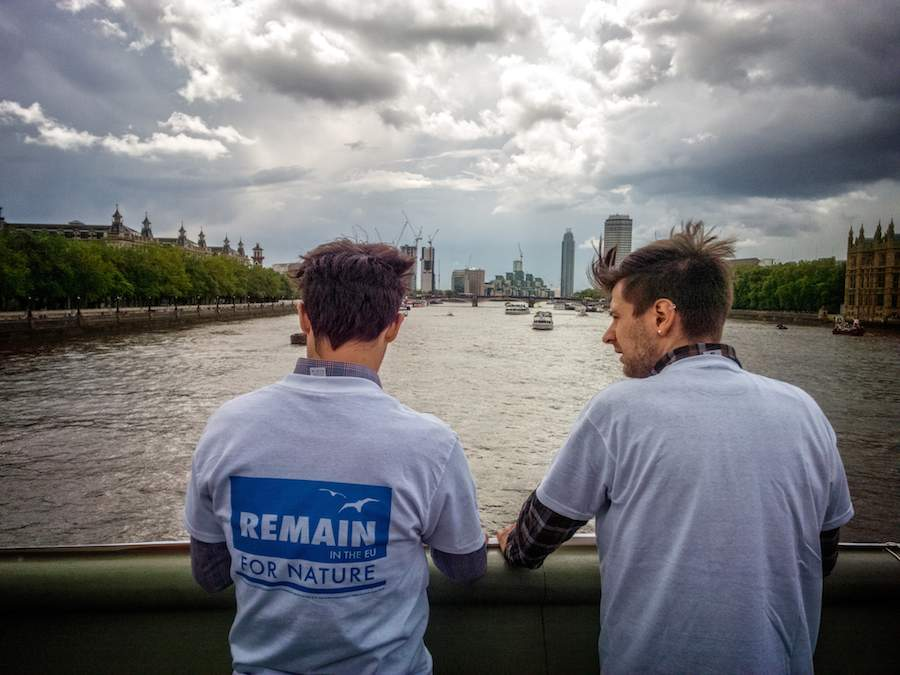 Remain campaigners on the Thames - Photo by Garry Knight
