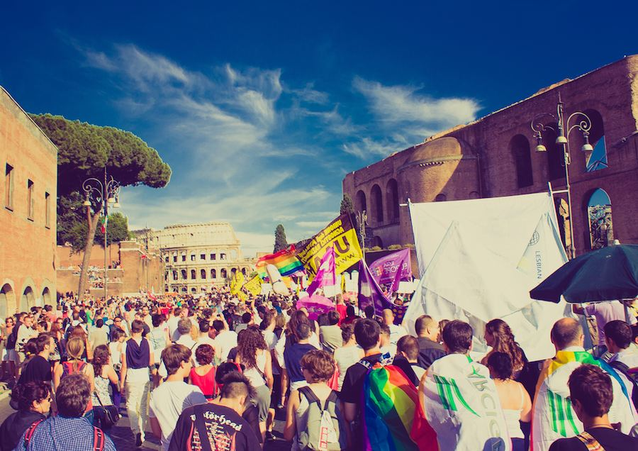 Recently, even Catholic Italy voted yes to a same-sex civil unions, even though bigger cities - including Venice - never really developed gay districts. Rome gaypride - Photo gy Jerome Naselli, Flick CC.