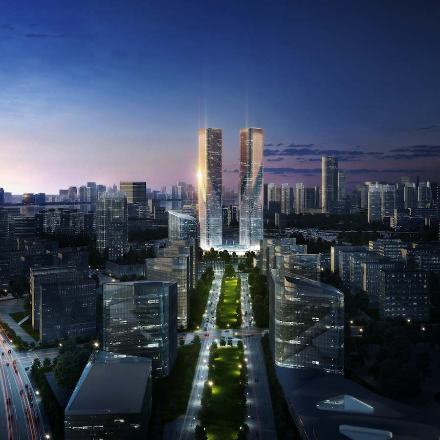 LAVA's Zheijang Gate Towers in Hangzhou - Image: courtesy by LAVA, Laboratory of Visionary Architecture.