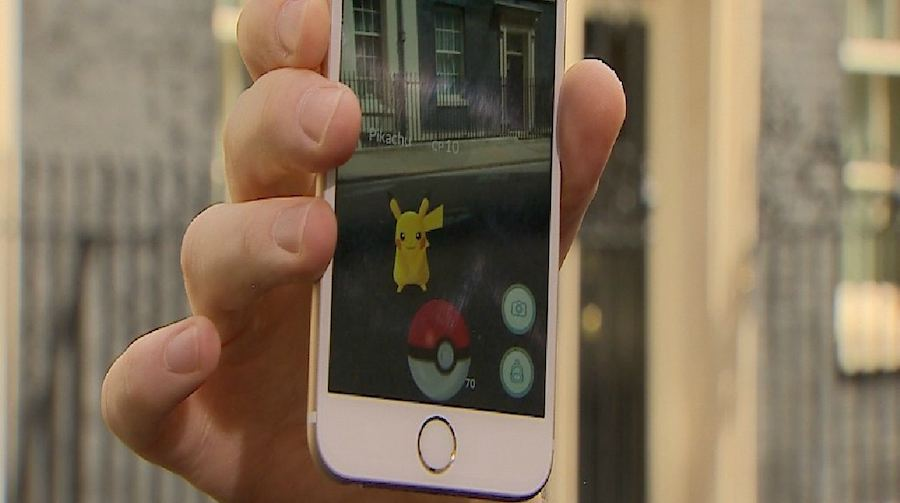Pikachu pops up at 10 Downing Street in London.