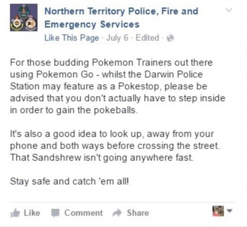US local police Facebook post after the Police Department was swamped by Pokemon Trainers.