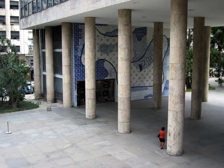 Gustavo Capanema Palace - Entrance with mosaics designs by Roberto Burle Marx.
