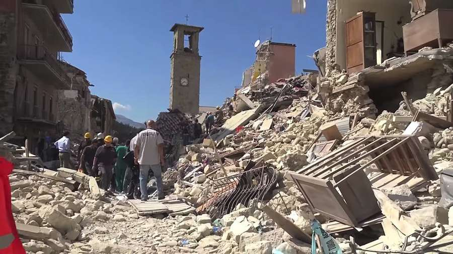 Amatrice, in the aftermath of the earthquake - August 25, 2016. Frame from Youtube CC.