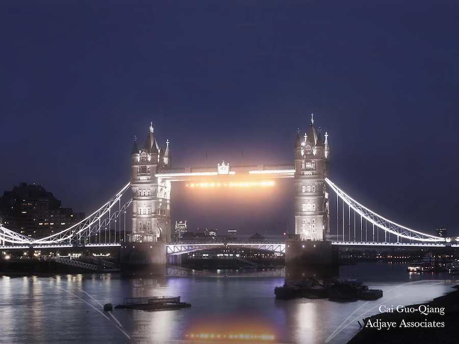 Adjaye Associates proposal with lighting installation by Cai Guo-Qiang at London Bridge.