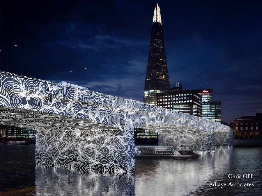 "Adjaye Associates proposal with ""invisible ripples"" lighting installation by Chris Ofili."