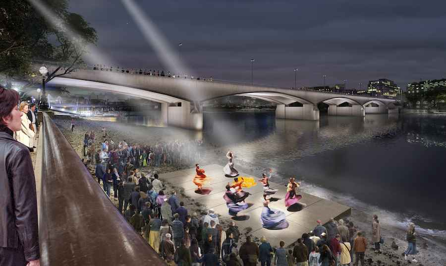 Waterloo bridge performance at low tide - © MRC Diller Scofidio + Renfro.