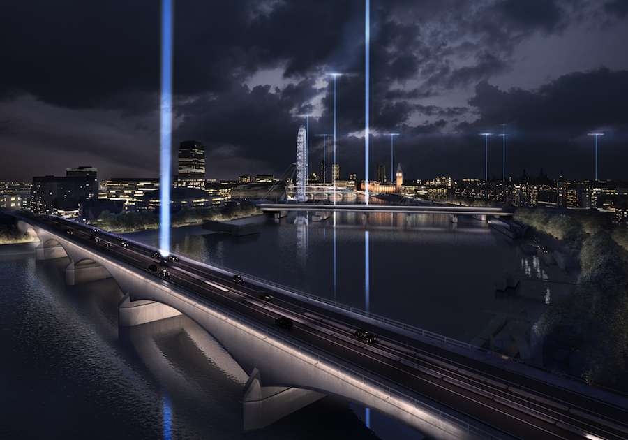 ILLUMINATED RIVER - Diller Scofidio + Renfro proposal, Waterloo bridge saluting the night.