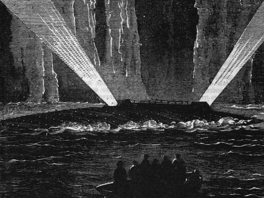Detail from the cover of L'Île mystérieuse (The Mysterious Island), Jules Verne - Pierre Jules-Hetzel Editeur, 1874.