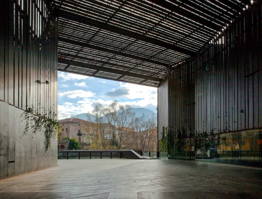 RCR Arquitectes: La Lira Theater Public Open Space, 2011, Ripoll, Girona, Spain, In collaboration with J. Puigcorbé - Photo by Hisao Suzuki.