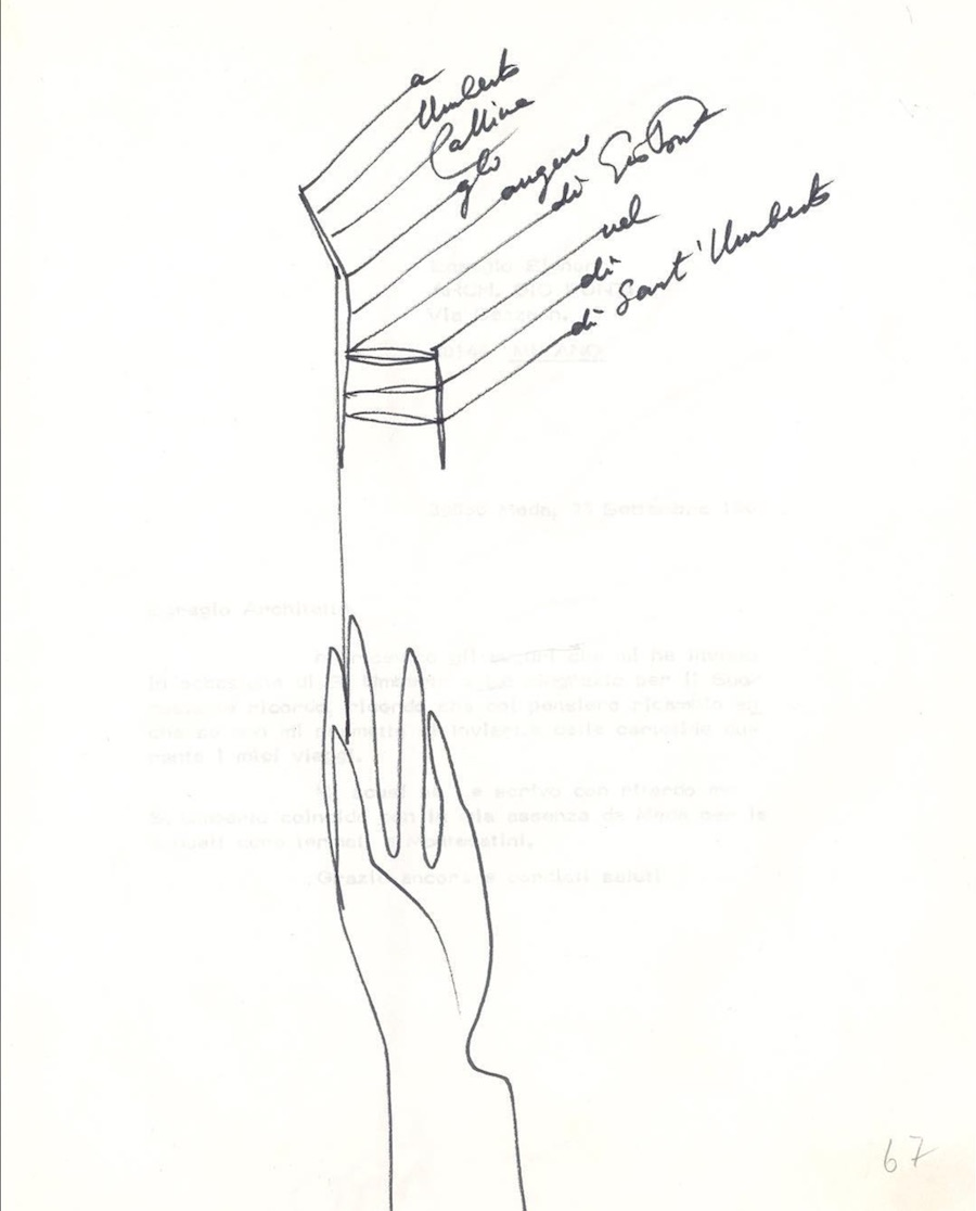 Gio Ponti's sent this original letter to Umberto Cassina to celebrate his saint's day. Image via @CassinaOfficial, IG.