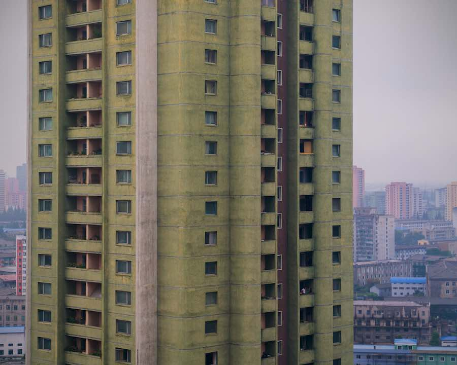 Tower building viewed from Koryo Hotel, Pyongyang - Photo by Raphael Olivier.
