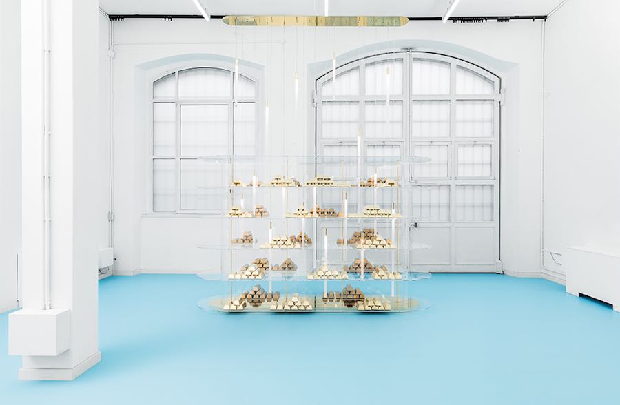 GOD exhibition, Euforia shelving/chandelier - Photo by Atelier Biagetti.