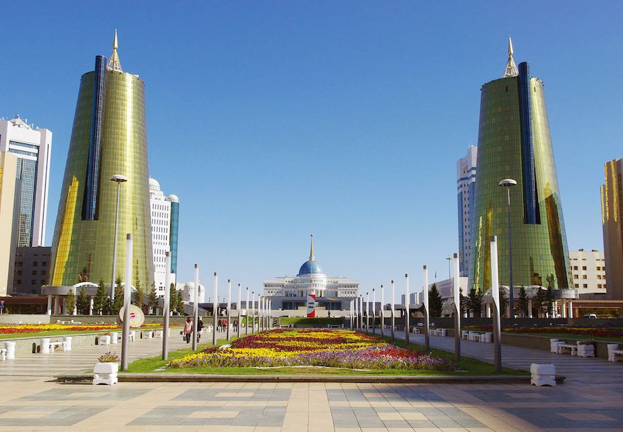 Golden Towers, Astana - Photo by Ken and Nyetta, CC BY 2.0.