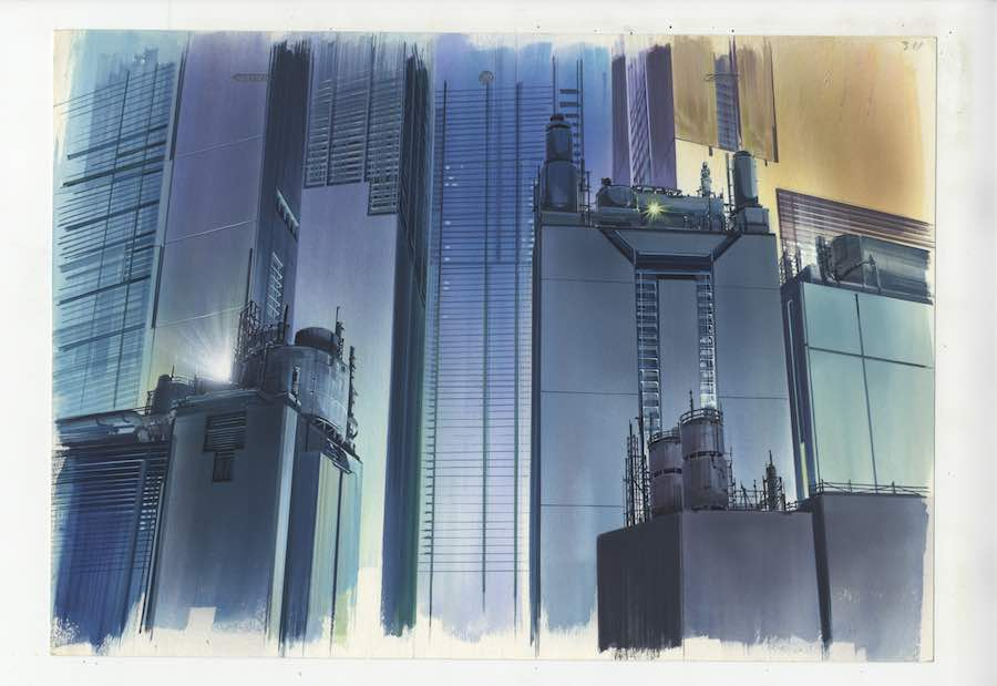 Anime Architecture -Background illustration for Ghost in the Shell cut 311 by Hiromasa Ogura © 1995 Shirow Masamune, KODANSHA · BANDAI VISUAL · MANGA ENTERTAINMENT Ltd.