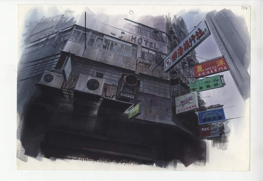 Anime Architecture - Background illustration for Ghost in the Shell cut 334 by Hiromasa Ogura © 1995 Shirow Masamune, KODANSHA · BANDAI VISUAL · MANGA ENTERTAINMENT Ltd
